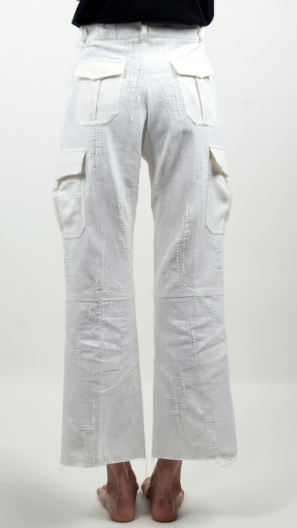 Embroidery Cargo pants Optical White