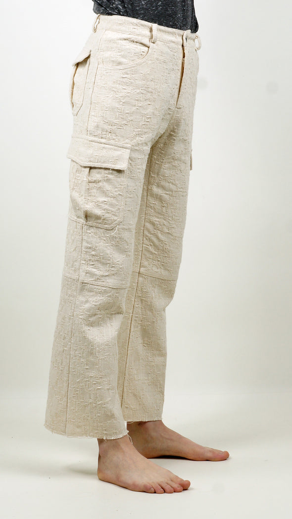 Embroidery Cargo pants Ivory