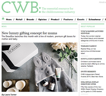 New luxury gifting concept for mums, CWB Magazine, Jan 2017