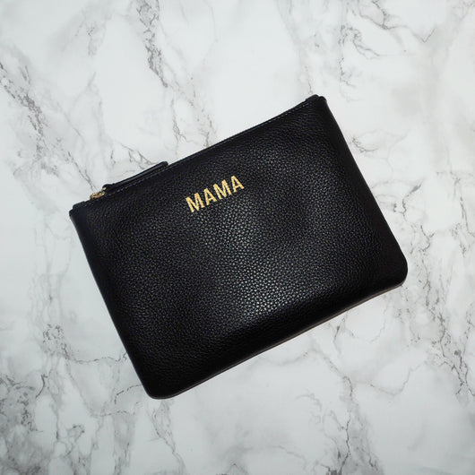Leather Mama Clutch - Black