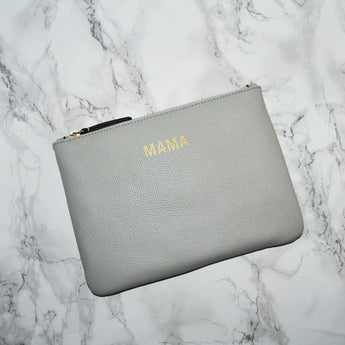 Leather Mama Clutch - Grey