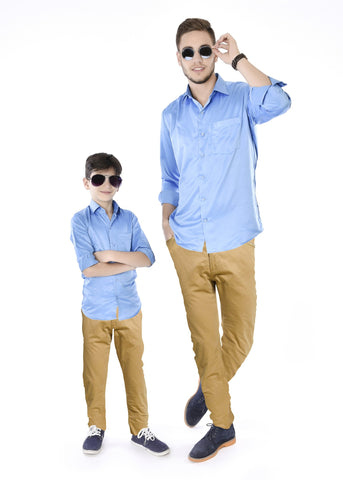 Trendy Blue Father and Son Matching Shirts