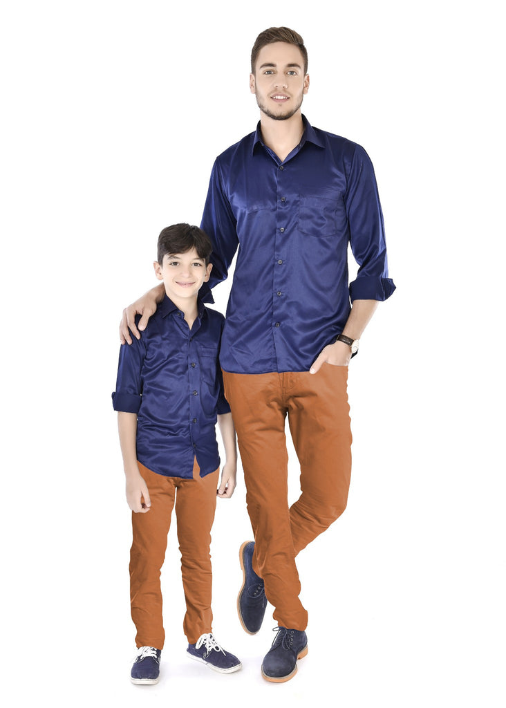 Trendy Navy Blue Father and Son Matching Shirts