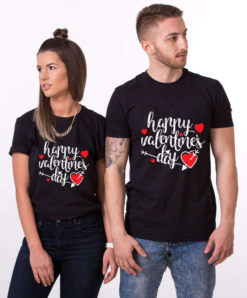 Happy Valentines Day Black Couple Tees