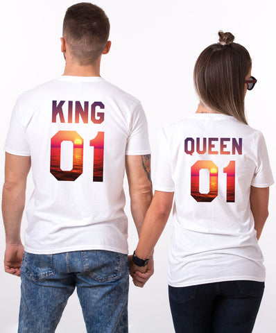 King 01 Queen 01 White Couple Tees