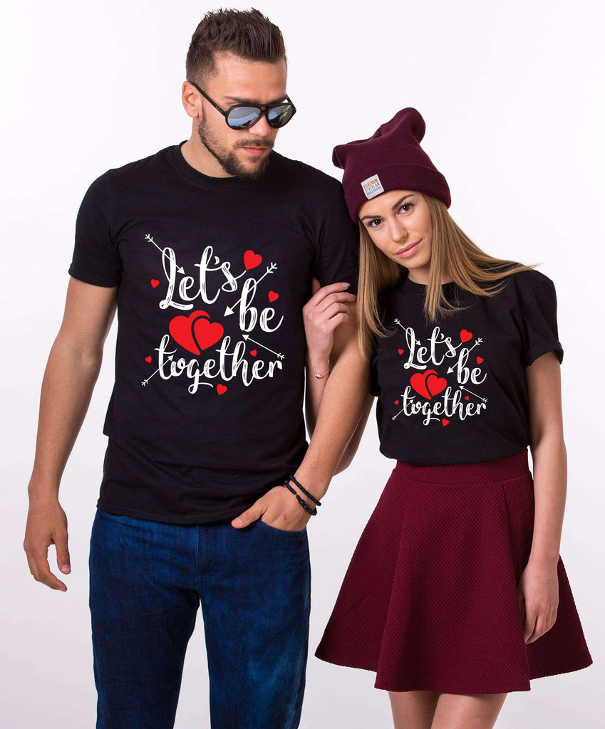 Lets Be Together Black Couple Tees