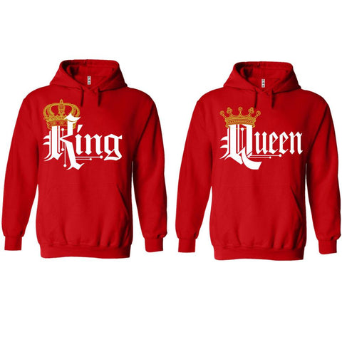 Trendy King Queen Red Hoodies