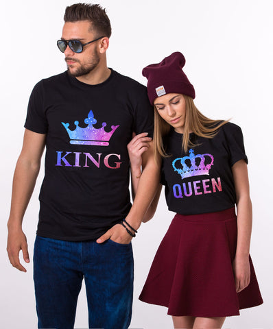 King Queen Black Couple Tees