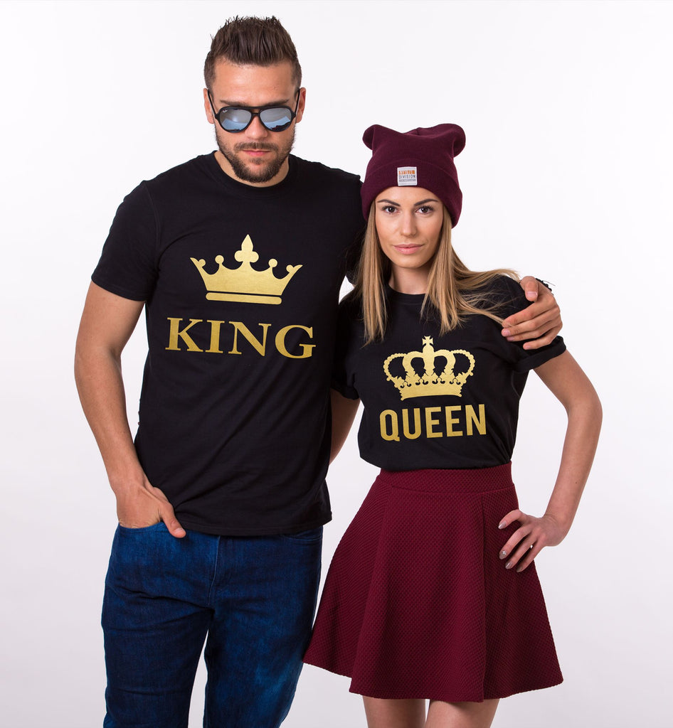 King Queen Golden Couple Tees