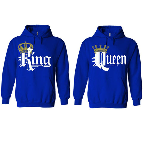 Trendy King Queen Blue Hoodies