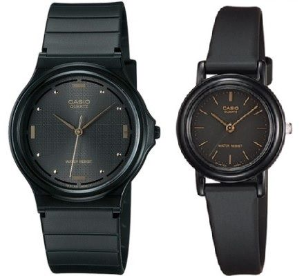 Casio His And Her Round Black Couple Watch