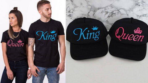 King Queen Couple Tees With Caps