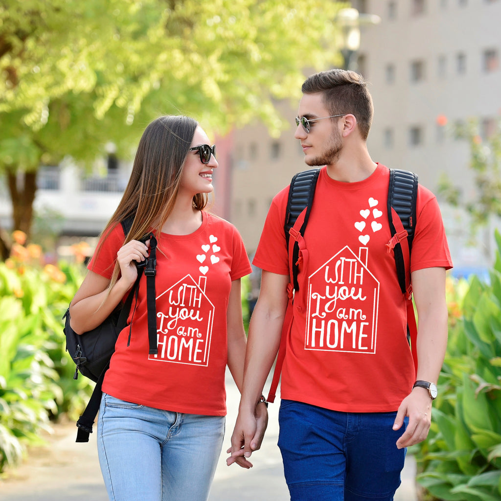 With You I Am Home Couple Tees