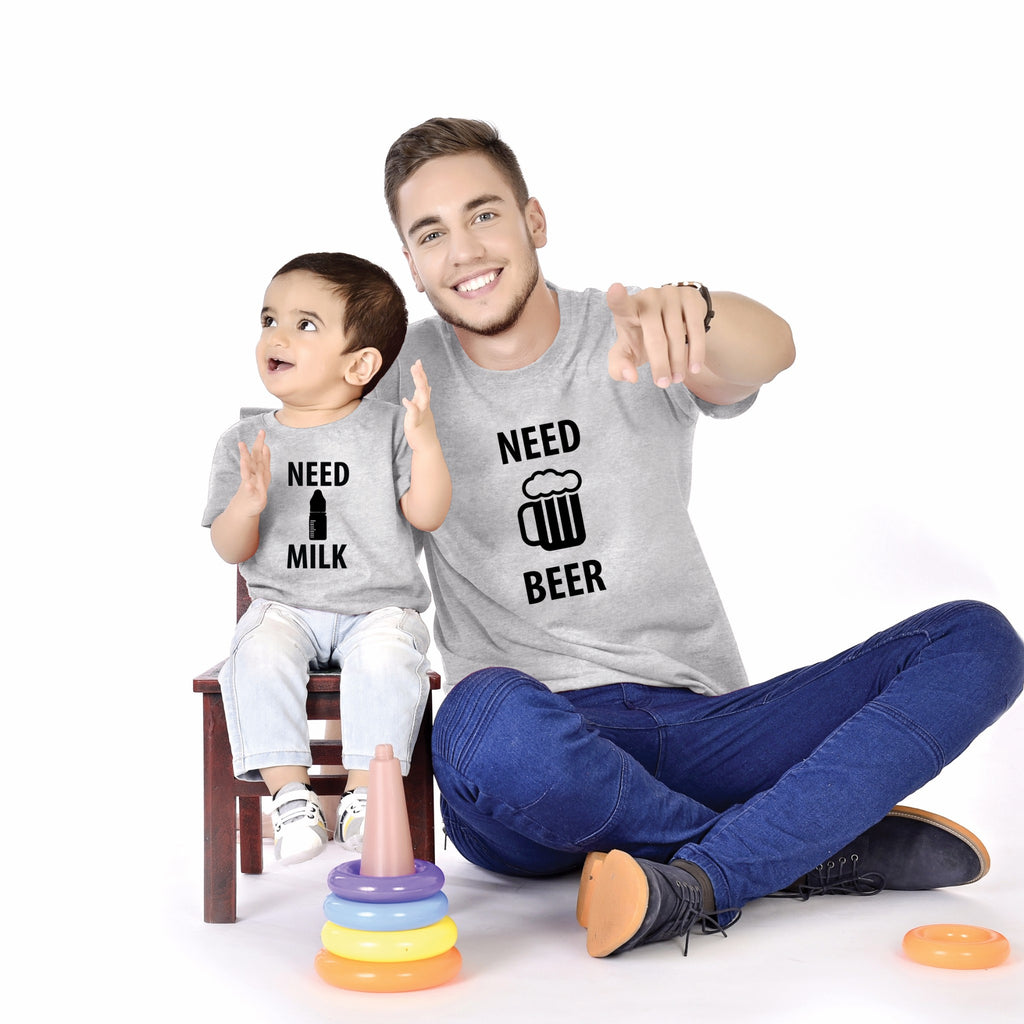Need Beer/Need Milk Father And Baby Tees