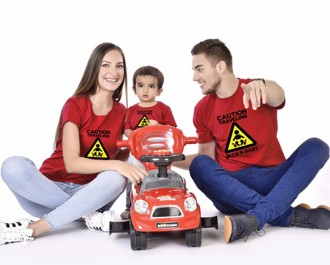 Caution Travelling With A Baby Family Tees