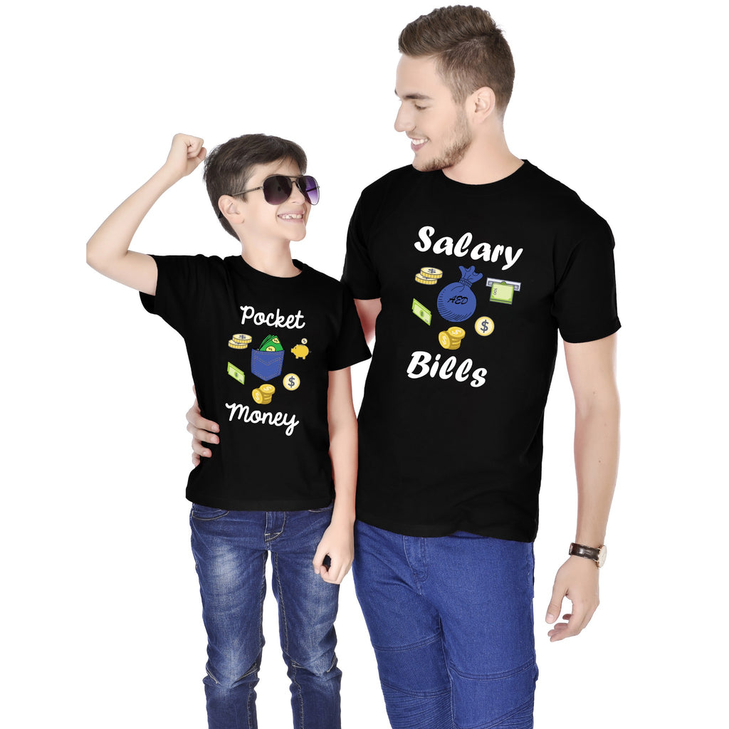 Salary Bills/Pocket Money Father And Son Tees