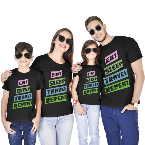 Eat Sleep Travel Repeat Family Tees