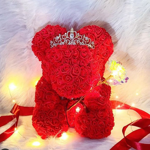 Unique Rose Teddy Bear With Crown(50% Off Today)
