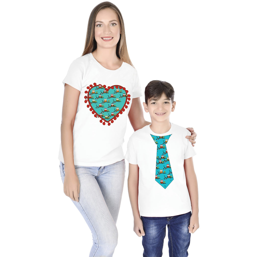 Tie/Heart Print Mom Son Tees