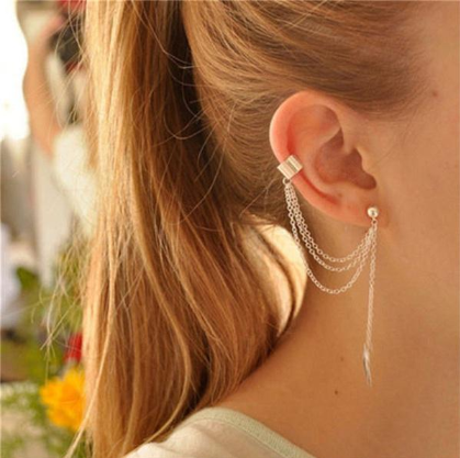 Stylish Long Silver Earring