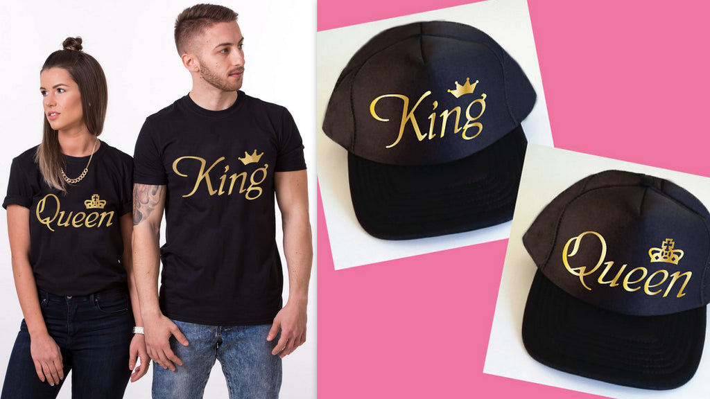 King Queen Couple Tees with Caps Combo