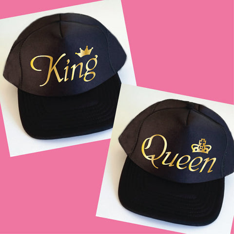 King Queen Golden Couple Caps