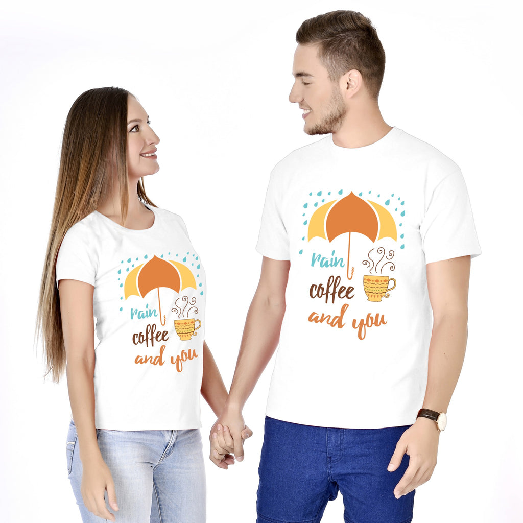 Rain Coffee And You Couple Tees