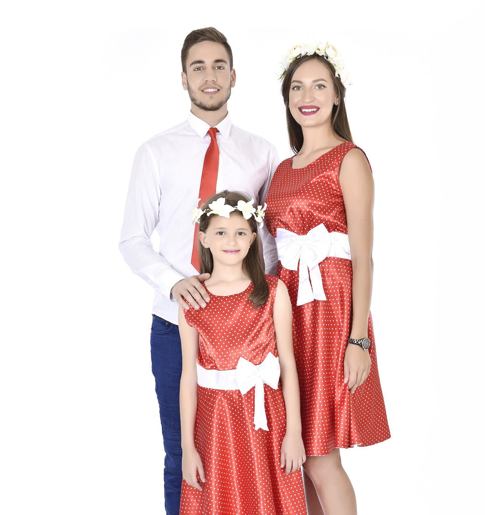 Classy Red Mother Daughter Dresses With A Matching Tie For Dad