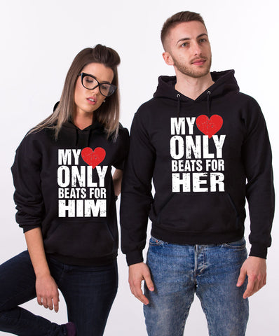 My Heart Beats Couple Hoodies