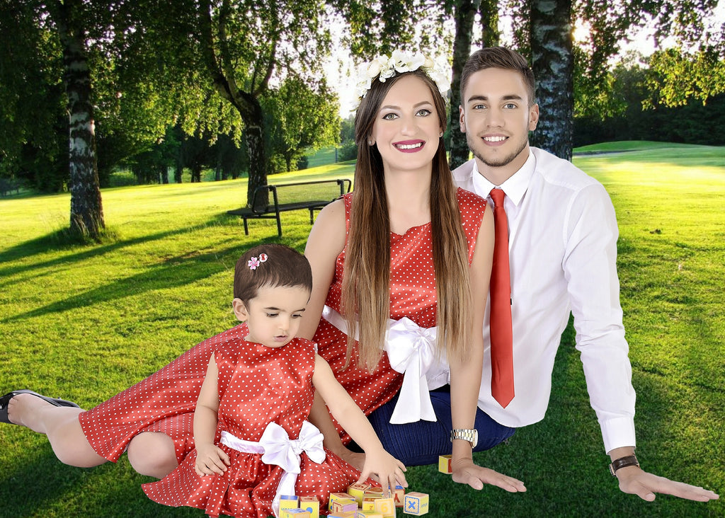 Classy Red Mother Baby Dresses With A Matching Tie For Dad