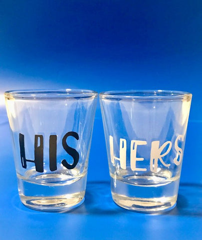 His and Hers Couple Shot Glasses