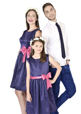 Classy Blue Mother Daughter Dresses With A Matching Tie For Dad