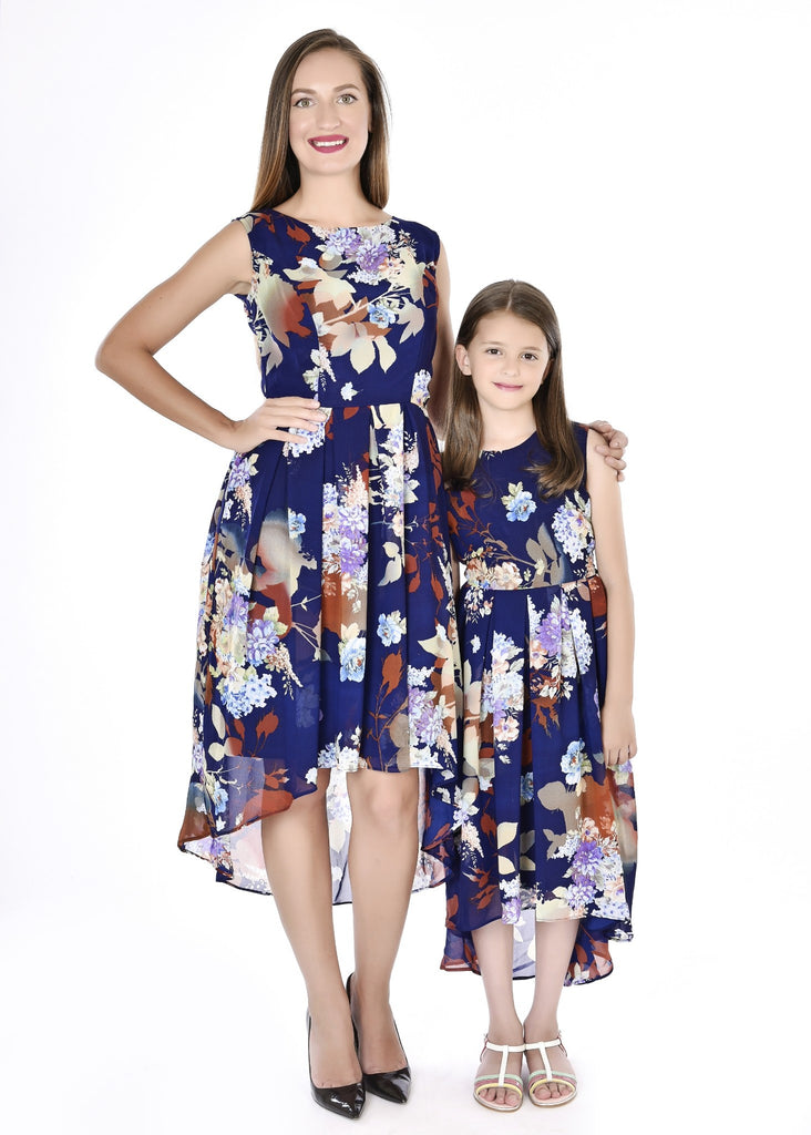 Classy Chiffon Print Blue Mother Daughter Dresses