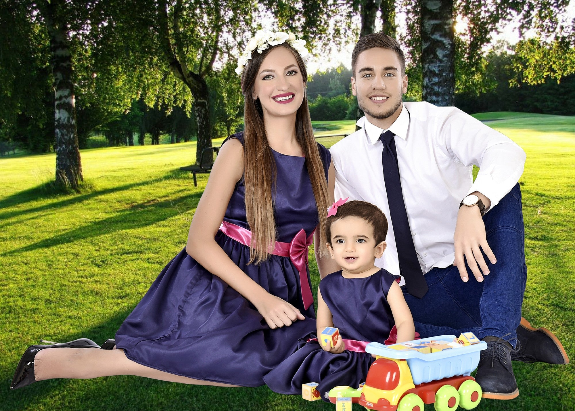Classy Blue Mother Baby Dresses With A Matching Tie For Dad