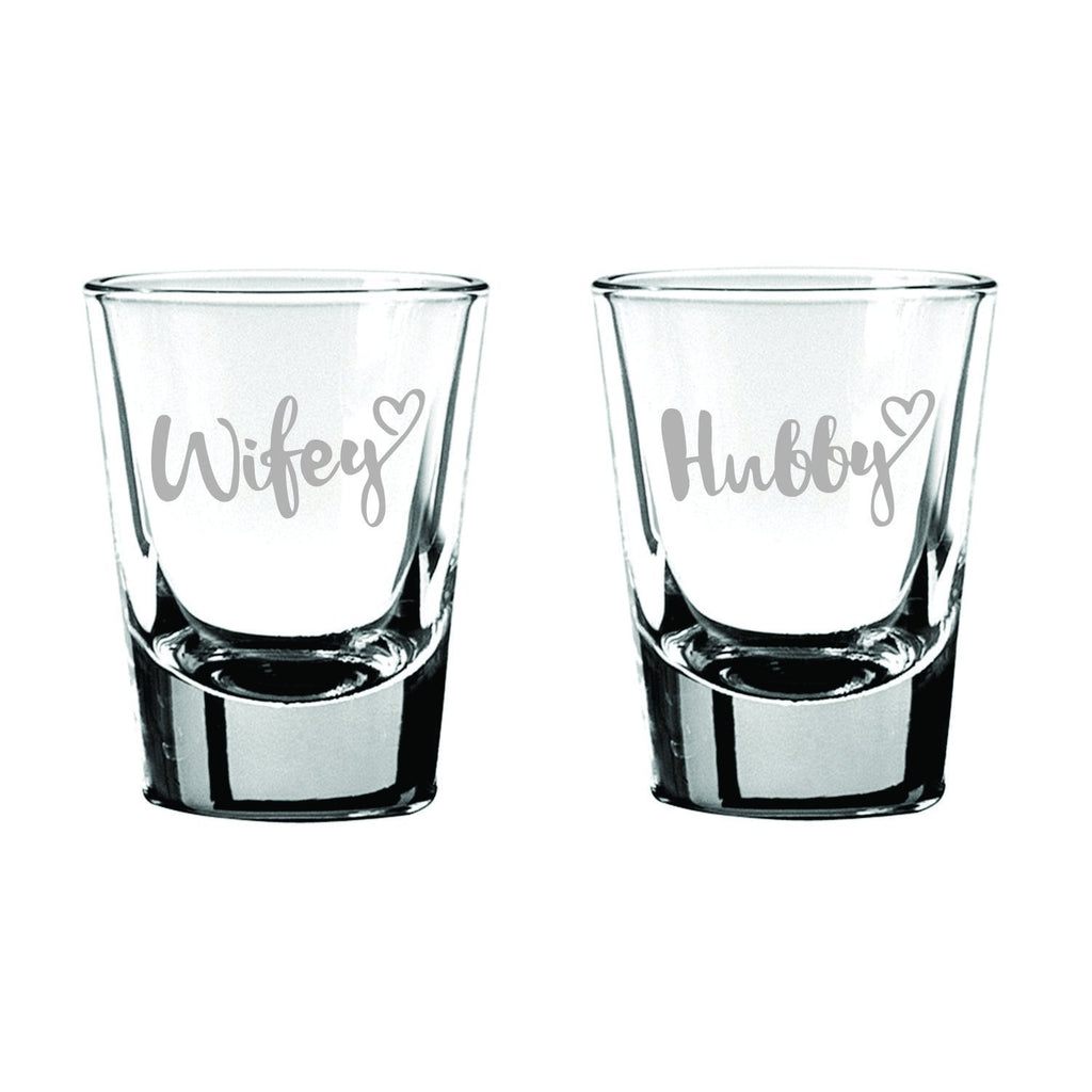 Hubby Wifey Couple Shot Glasses Set Of 2