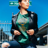 Women's T-Shirt  - Ancient Roots Urban Aztec, Green Cotton