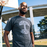 Oaklandish Classic Logo Tee - Charcoal Heather Heavyweight Cotton