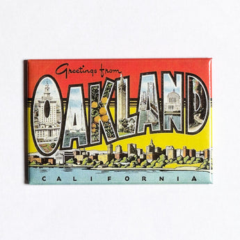Greetings From Oakland Fridge Magnet - Vintage Postcard Style