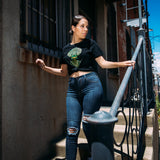 T-shirt | Cotton Women | Black/Green | Urban Aztec Jesse Hernandez