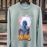 t-shirt-agana oakland graffiti artist-oaklandish-green cotton long sleeve