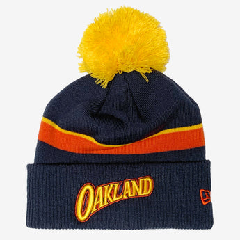 New Era Navy Oakland Warriors 2020/21 City Edition Pom Cuffed Knit Hat