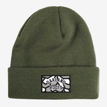 Roots SC Beanie - Olive Green Woven Acrylic & Cuffed