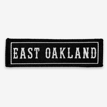 Iron On Patch - East Oakland, Black & White Textile