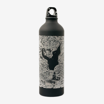 Aluminum Water Bottle - Black With Aerial Map of Oakland