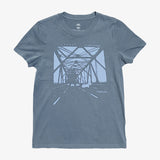 Women's Tee - Oakland Bridge, Faded Blue Cotton