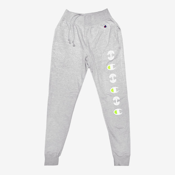 joggers - champion x oaklandish - heather grey flourescent yellow - cotton