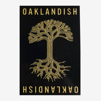 oaklandish roots logo sticker - black and gold