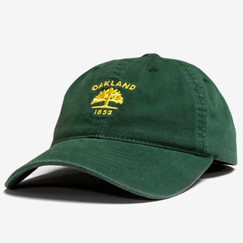 Dad Hat - Yellow Oakland 1852 Logo, Forest Green Cotton