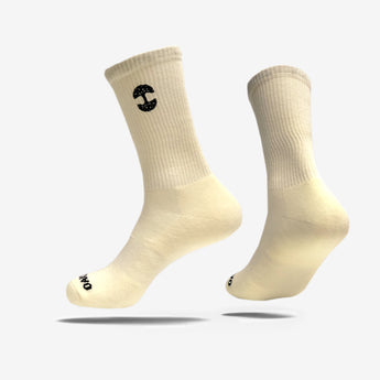 men's crew socks - oaklandish embroidered logo - cream