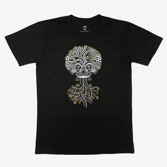 T-Shirt - Ancient Roots Urban Aztec, Black Cotton